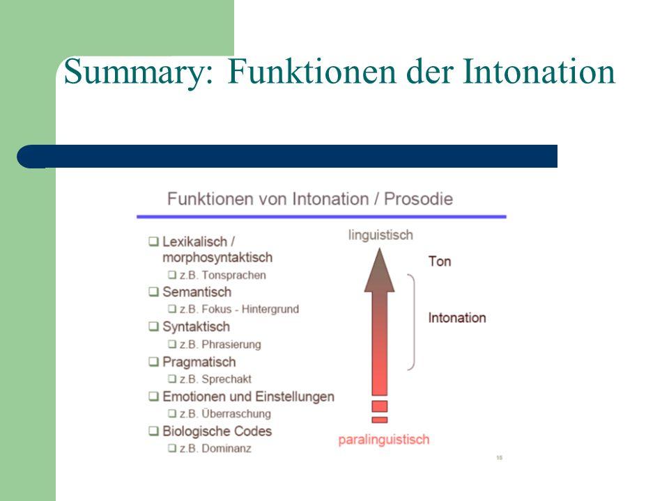 Summary: Funktionen der Intonation