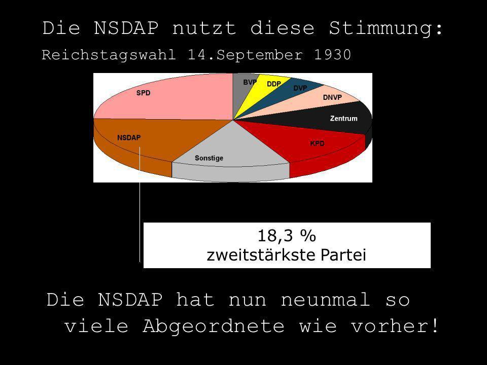 Die NSDAP nutzt diese Stimmung: