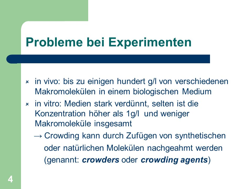 Probleme bei Experimenten