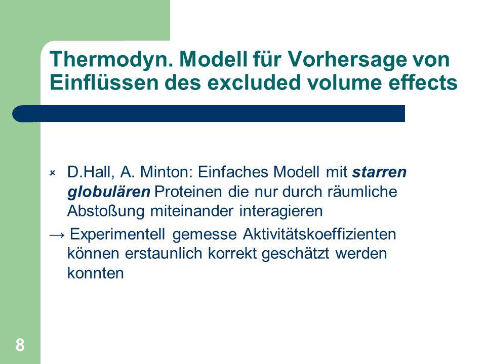 Thermodyn. Modell für Vorhersage von Einflüssen des excluded volume effects