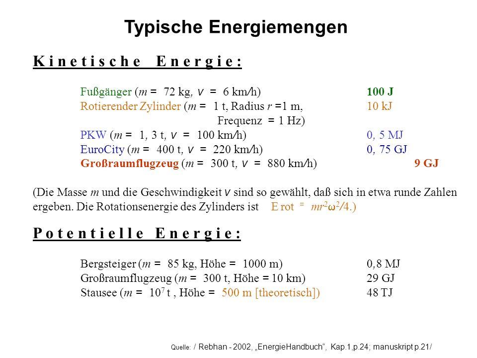 Typische Energiemengen