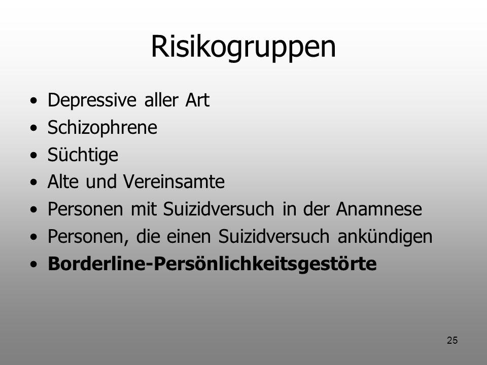 Risikogruppen Depressive aller Art Schizophrene Süchtige