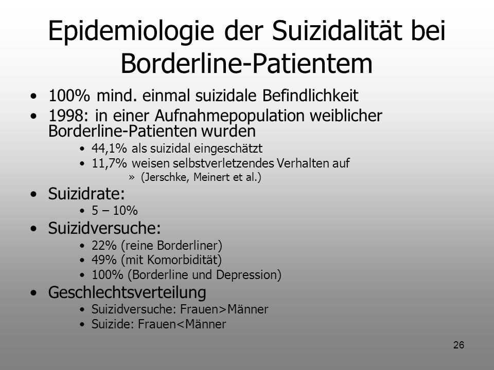 Epidemiologie der Suizidalität bei Borderline-Patientem