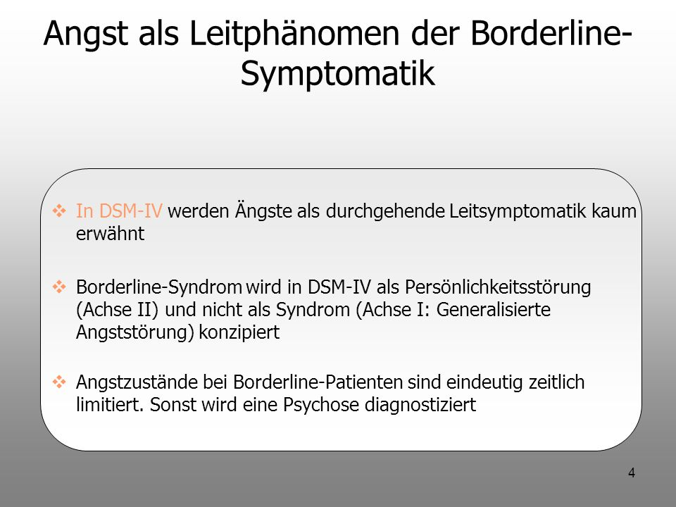 Angst als Leitphänomen der Borderline-Symptomatik