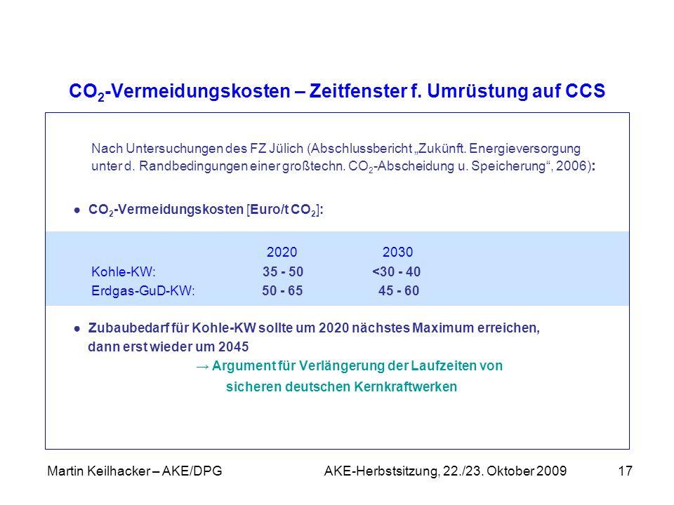CO2-Vermeidungskosten – Zeitfenster f. Umrüstung auf CCS