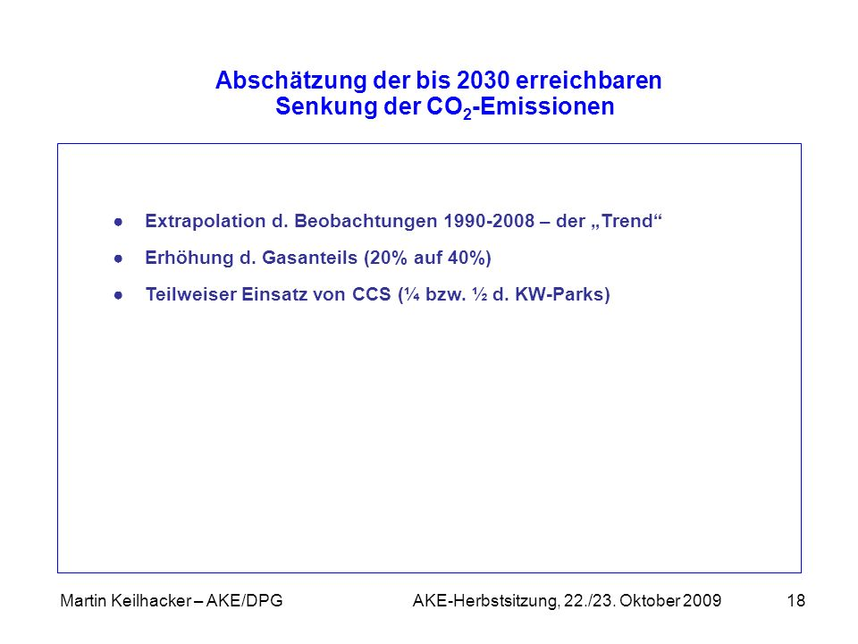 Abschätzung der bis 2030 erreichbaren Senkung der CO2-Emissionen