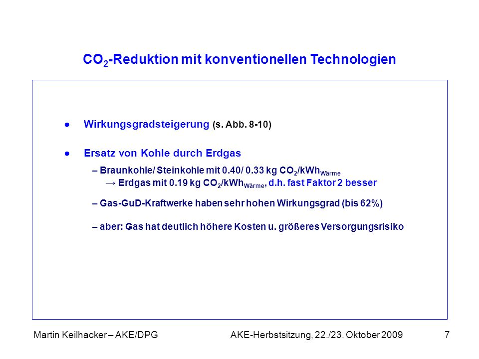 CO2-Reduktion mit konventionellen Technologien