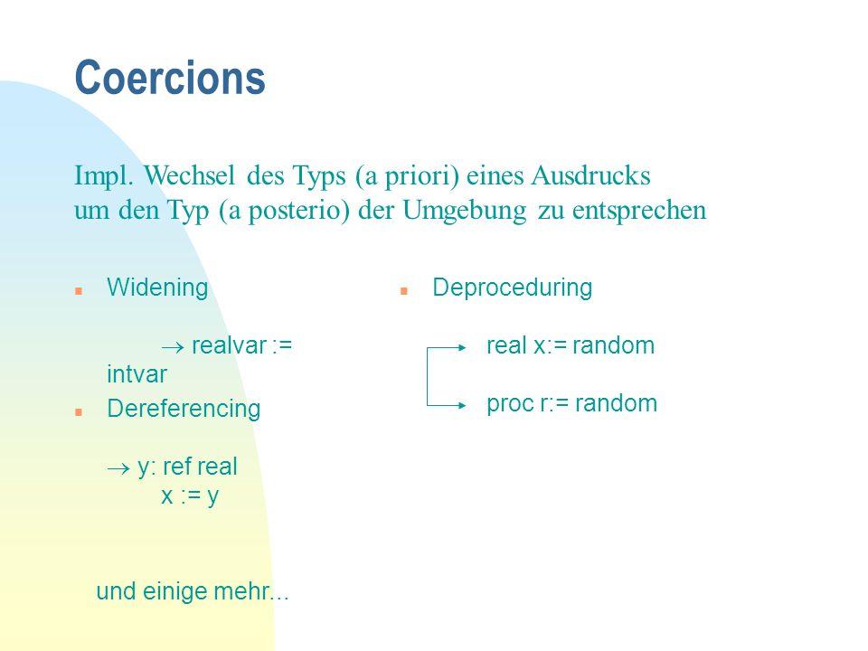 Coercions Impl. Wechsel des Typs (a priori) eines Ausdrucks