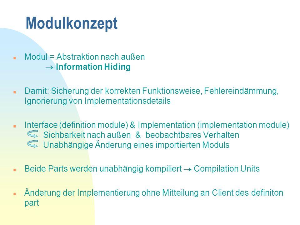 Modulkonzept Modul = Abstraktion nach außen  Information Hiding