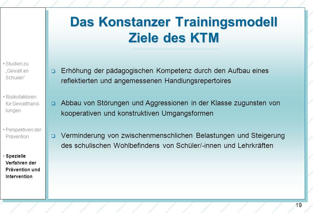 Das Konstanzer Trainingsmodell Ziele des KTM