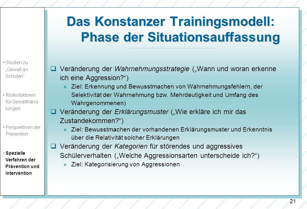 Das Konstanzer Trainingsmodell: Phase der Situationsauffassung