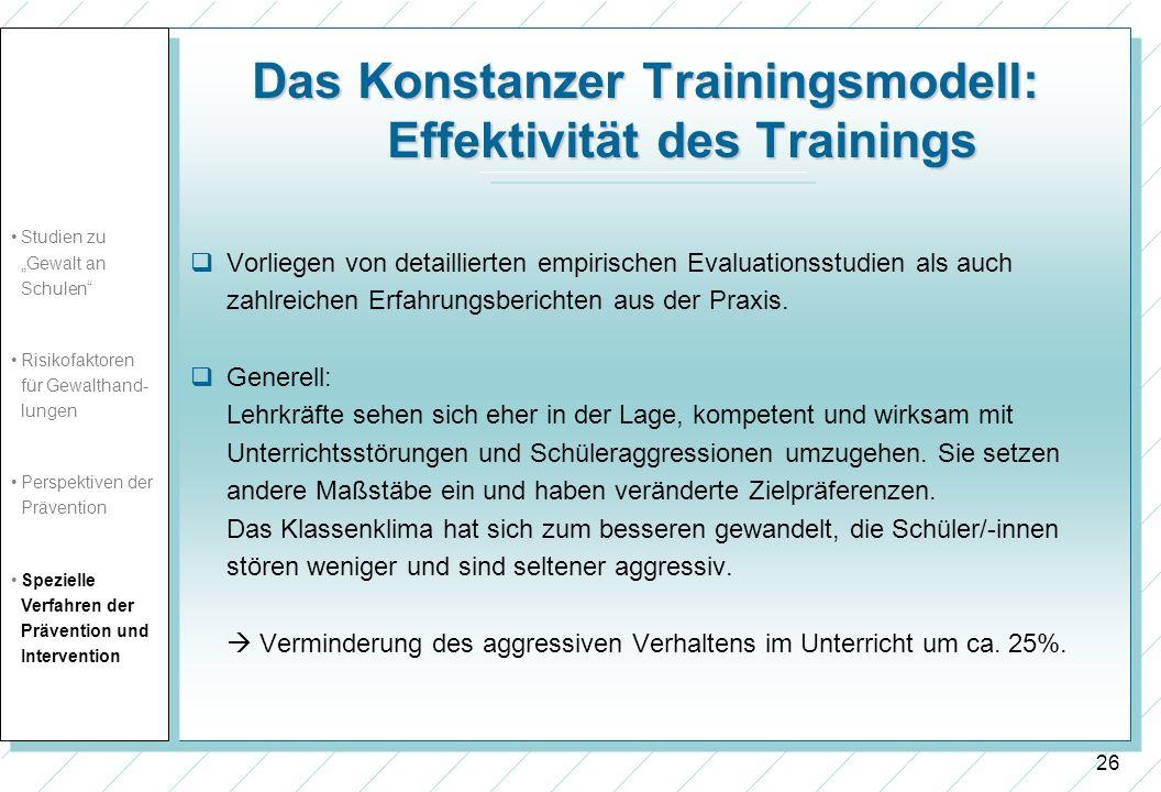 Das Konstanzer Trainingsmodell: Effektivität des Trainings