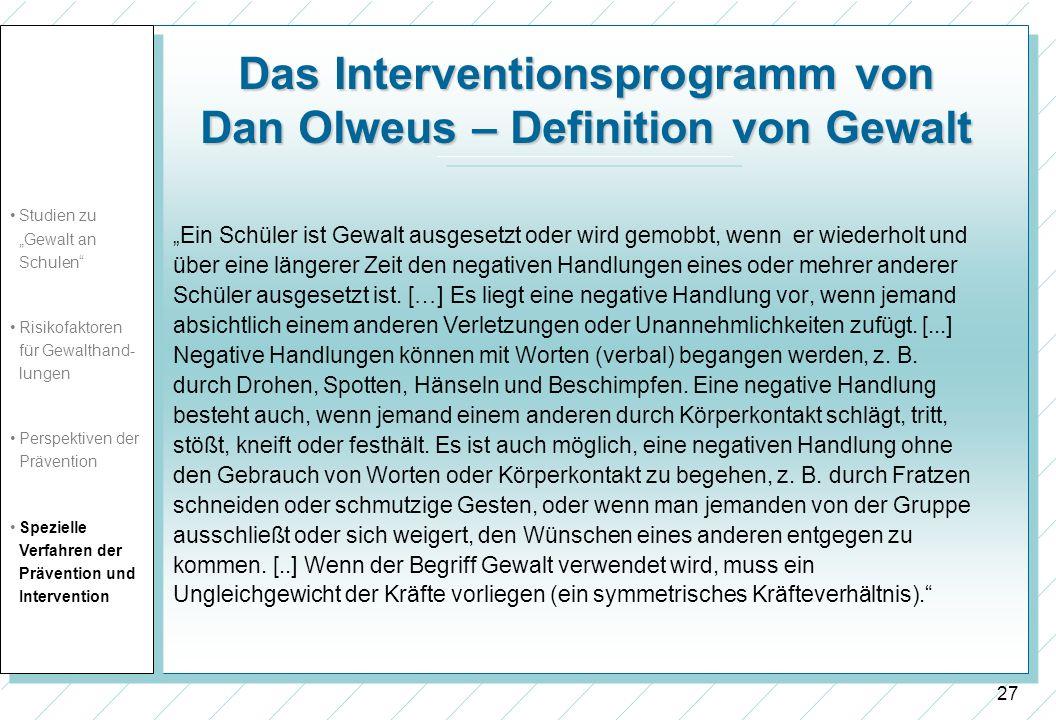 Das Interventionsprogramm von Dan Olweus – Definition von Gewalt