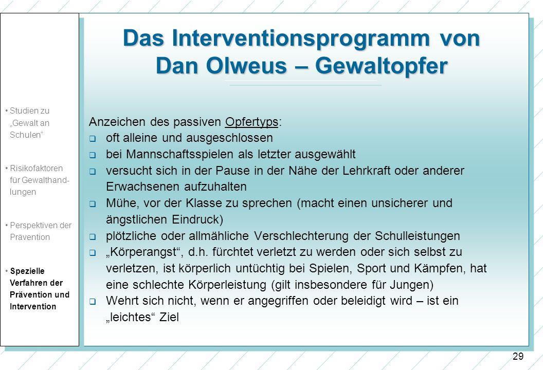 Das Interventionsprogramm von Dan Olweus – Gewaltopfer
