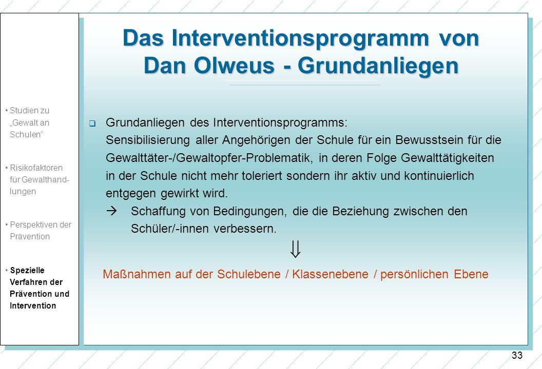 Das Interventionsprogramm von Dan Olweus - Grundanliegen
