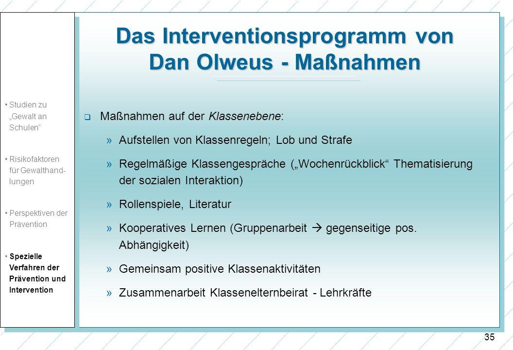 Das Interventionsprogramm von Dan Olweus - Maßnahmen