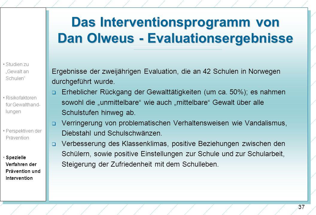 Das Interventionsprogramm von Dan Olweus - Evaluationsergebnisse