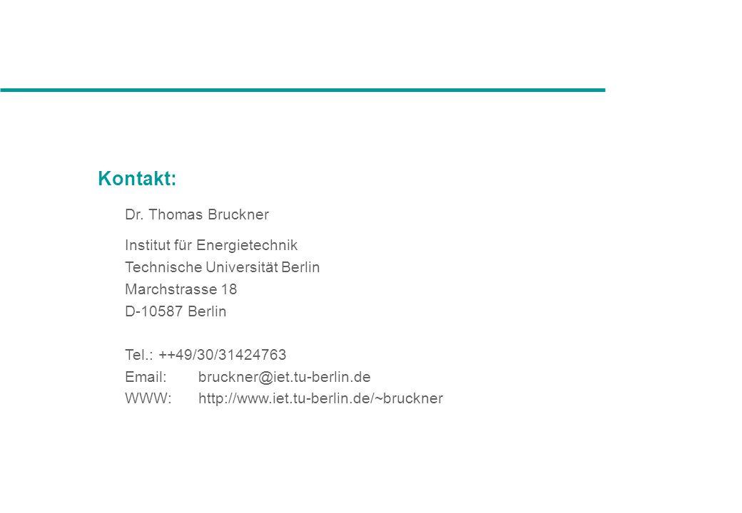 Kontakt: Dr. Thomas Bruckner Institut für Energietechnik