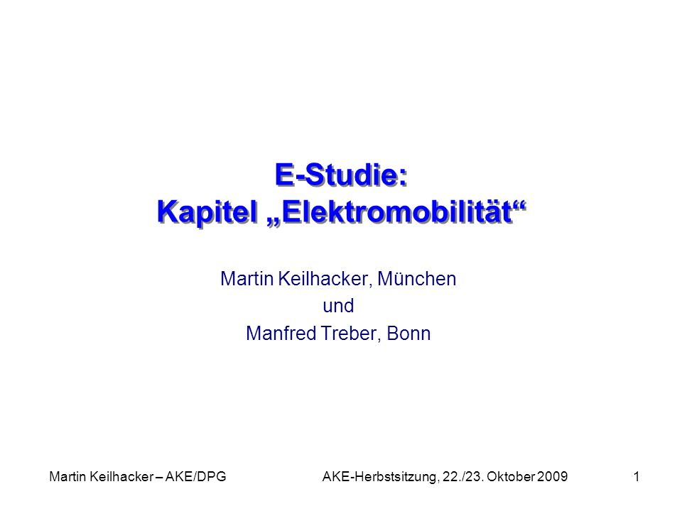 "E-Studie: Kapitel ""Elektromobilität"