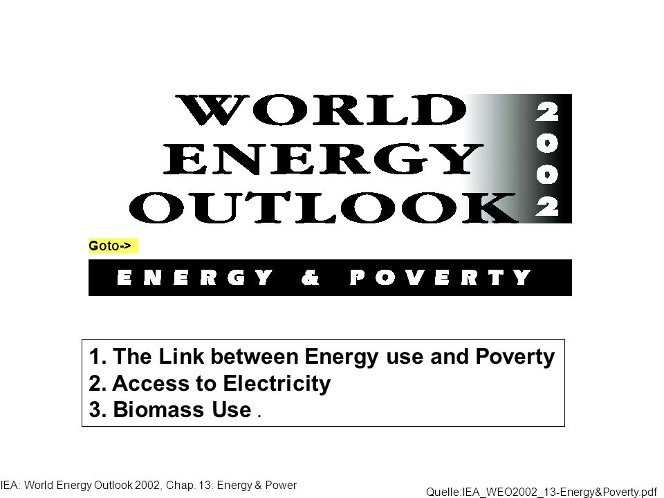 1. The Link between Energy use and Poverty 2. Access to Electricity