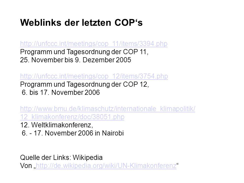 Weblinks der letzten COP's