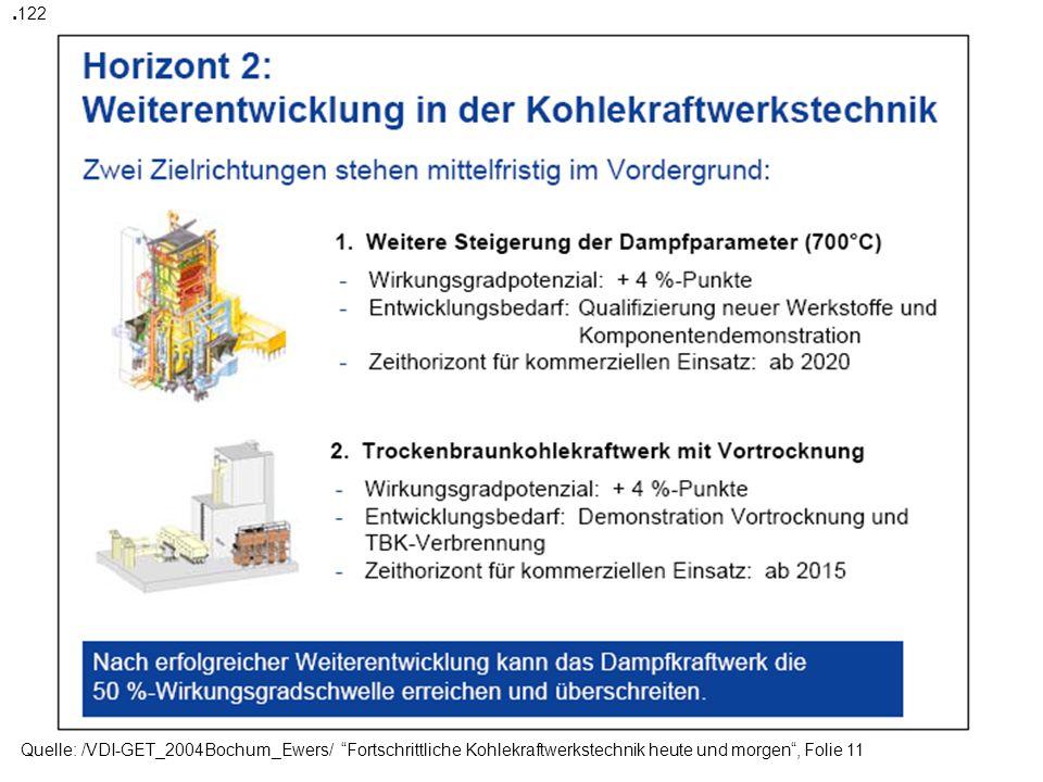 .122 Quelle: /VDI-GET_2004Bochum_Ewers/ Fortschrittliche Kohlekraftwerkstechnik heute und morgen , Folie 11.