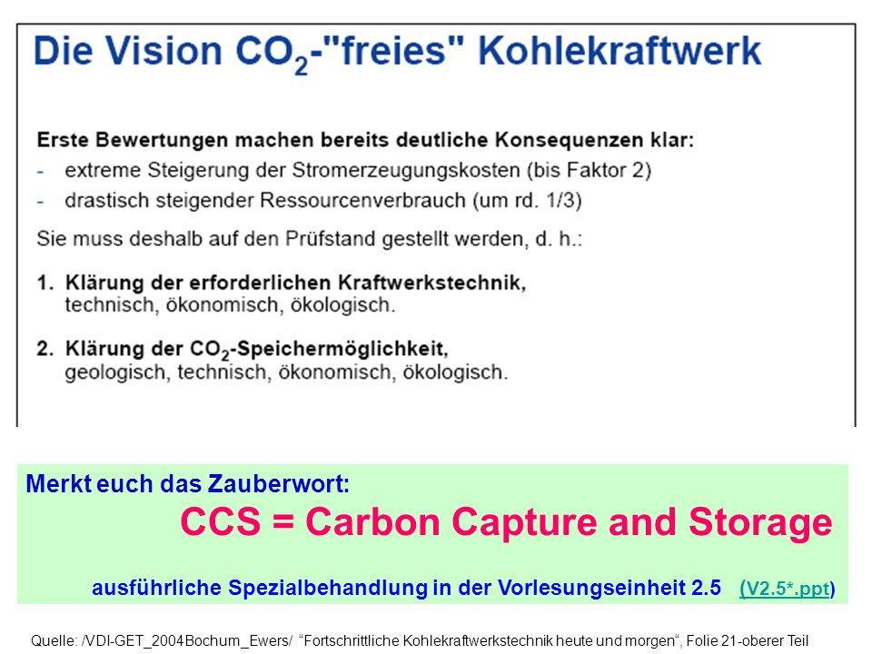 Merkt euch das Zauberwort: CCS = Carbon Capture and Storage