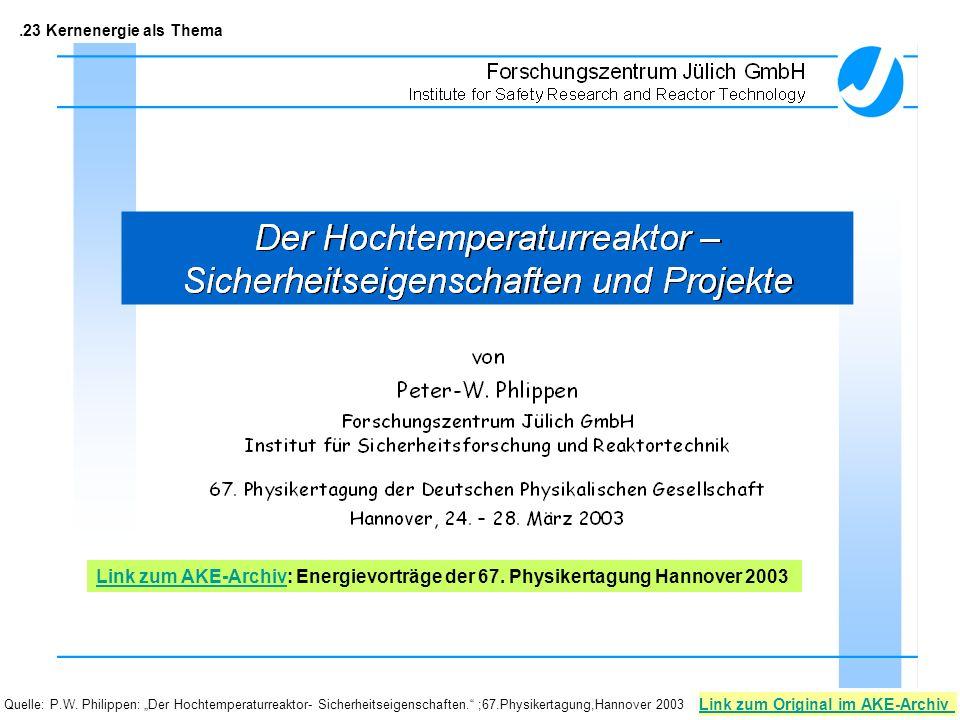 .23 Kernenergie als Thema Link zum AKE-Archiv: Energievorträge der 67. Physikertagung Hannover 2003.