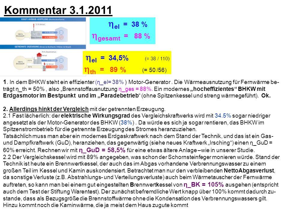 Kommentar 3.1.2011 el = 38 % gesamt = 88 % el = 34,5% (= 38 / 110)