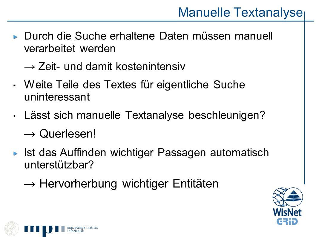 Manuelle Textanalyse → Querlesen! → Hervorherbung wichtiger Entitäten