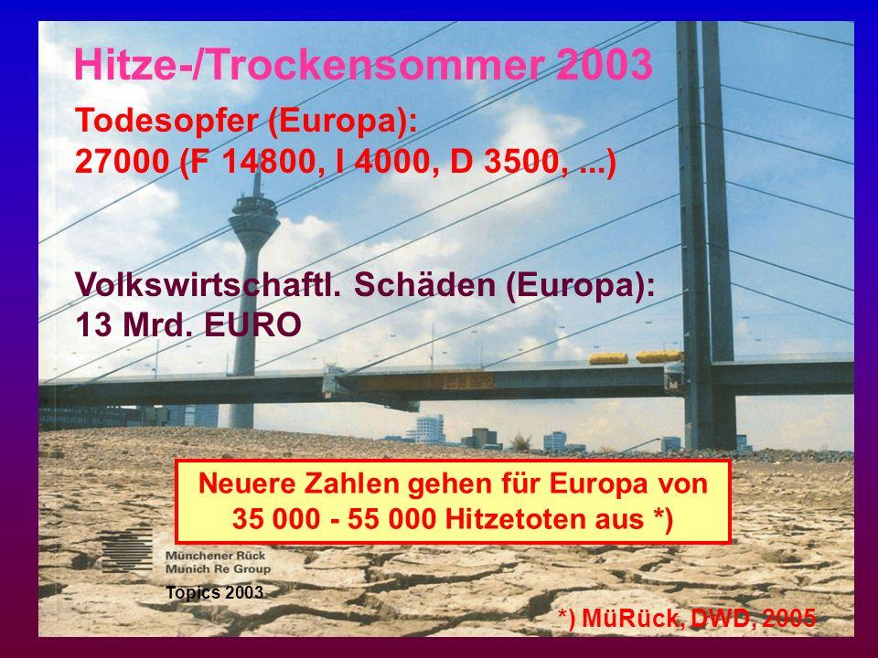 Neuere Zahlen gehen für Europa von 35 000 - 55 000 Hitzetoten aus *)