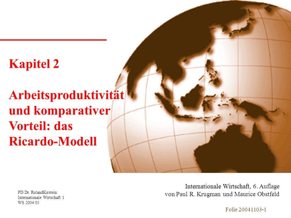 Arbeitsproduktivität und komparativer Vorteil: das Ricardo-Modell