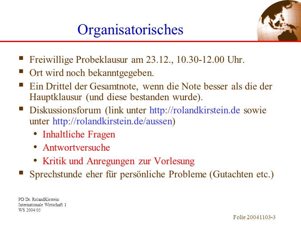 Organisatorisches Freiwillige Probeklausur am 23.12., 10.30-12.00 Uhr.
