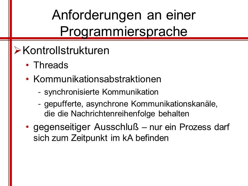 Anforderungen an einer Programmiersprache