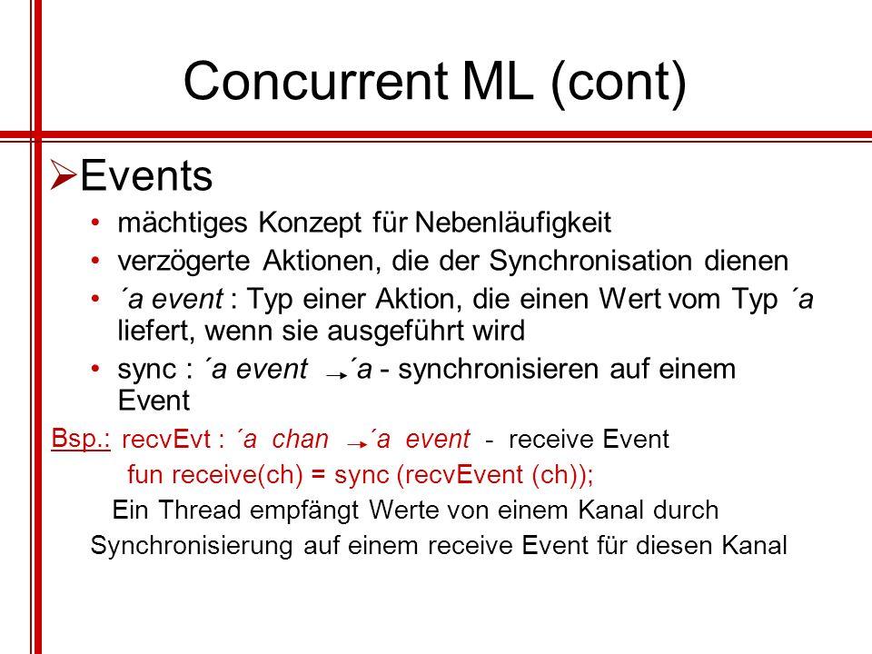 Concurrent ML (cont) Events mächtiges Konzept für Nebenläufigkeit
