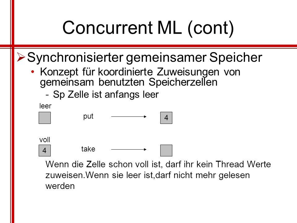 Concurrent ML (cont) Synchronisierter gemeinsamer Speicher
