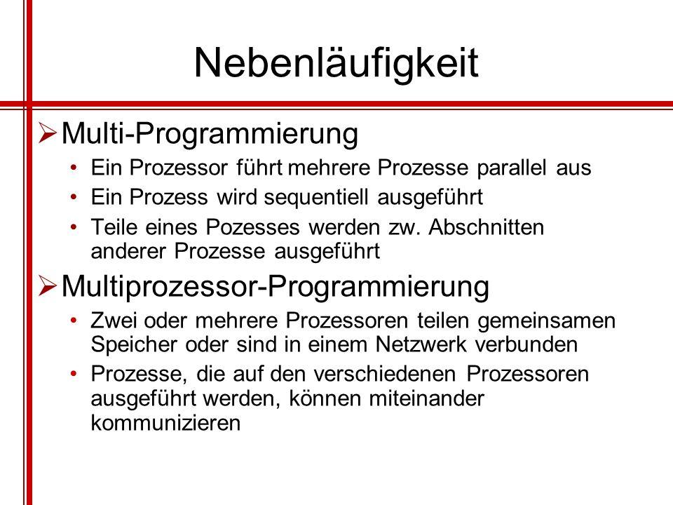 Nebenläufigkeit Multi-Programmierung Multiprozessor-Programmierung