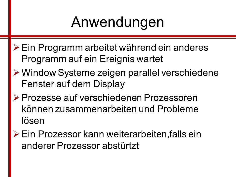 Anwendungen Ein Programm arbeitet während ein anderes Programm auf ein Ereignis wartet.