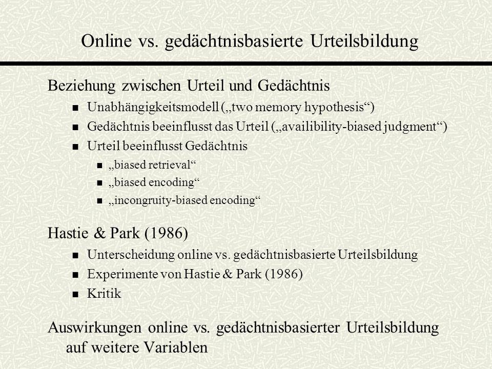 Online vs. gedächtnisbasierte Urteilsbildung