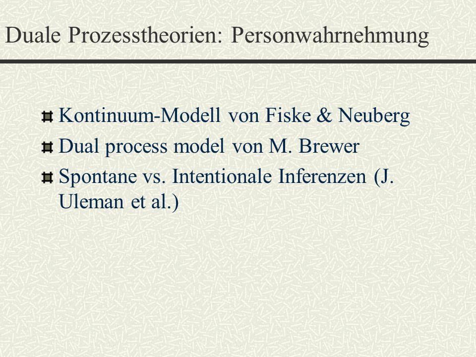 Duale Prozesstheorien: Personwahrnehmung