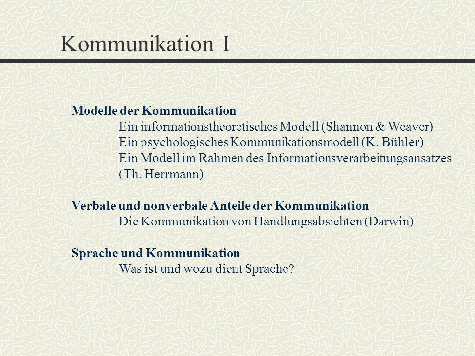 Kommunikation I Modelle der Kommunikation