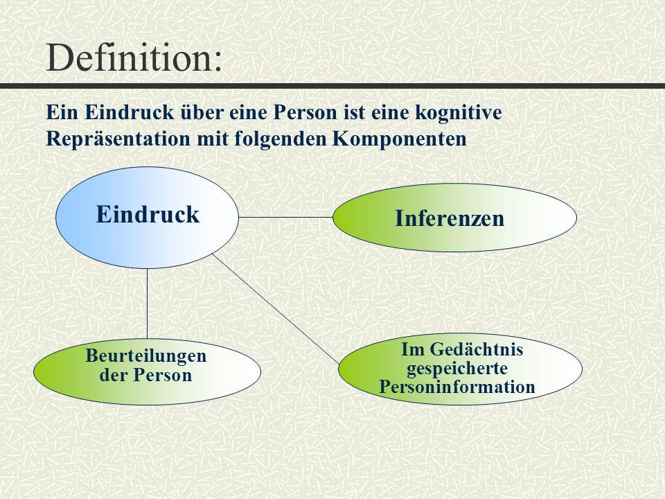 Im Gedächtnis gespeicherte Personinformation Beurteilungen der Person