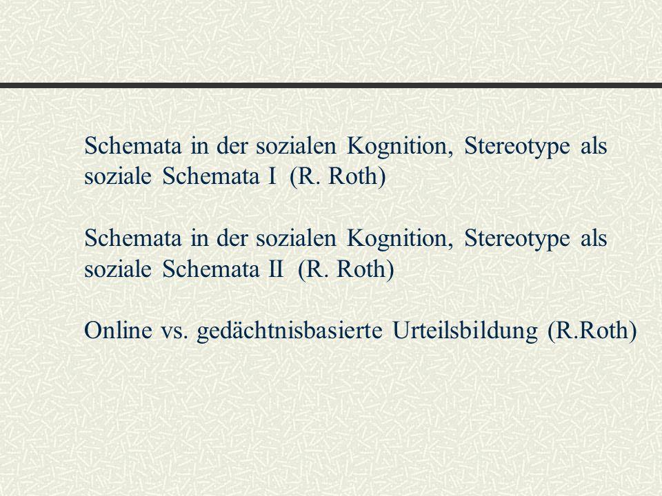 Online vs. gedächtnisbasierte Urteilsbildung (R.Roth)