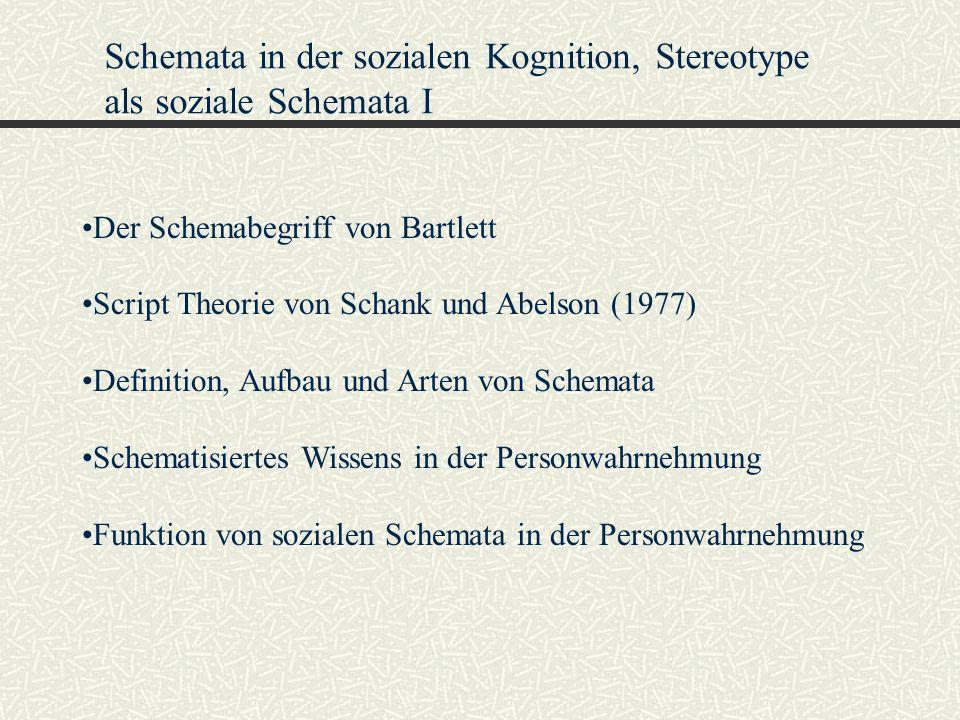 Schemata in der sozialen Kognition, Stereotype als soziale Schemata I