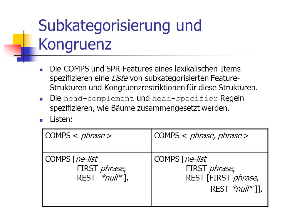 Subkategorisierung und Kongruenz
