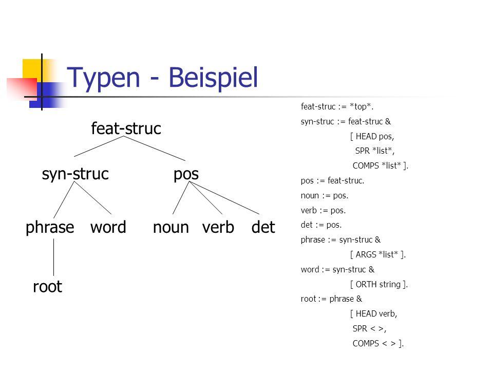 Typen - Beispiel feat-struc syn-struc pos phrase word noun verb det