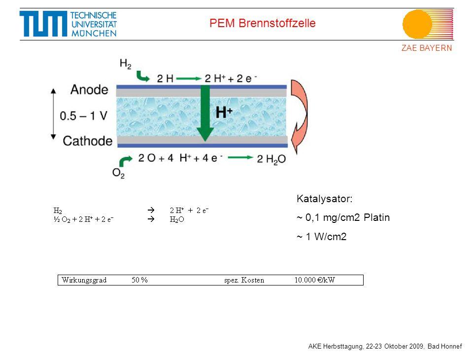 PEM Brennstoffzelle Katalysator: ~ 0,1 mg/cm2 Platin ~ 1 W/cm2