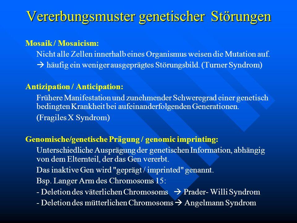 Vererbungsmuster genetischer Störungen