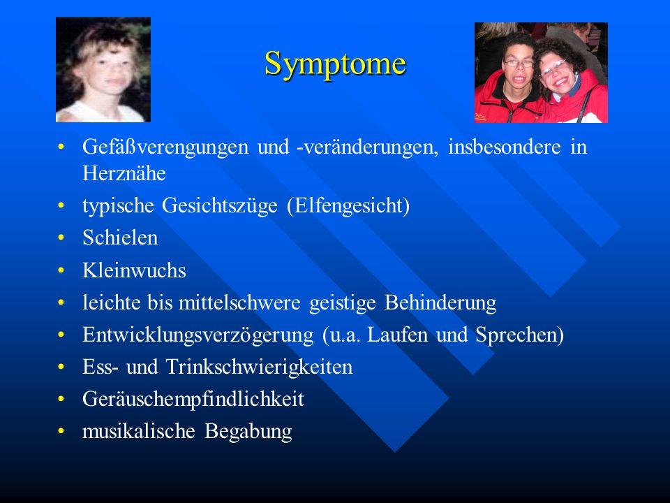 Symptome Gefäßverengungen und -veränderungen, insbesondere in Herznähe