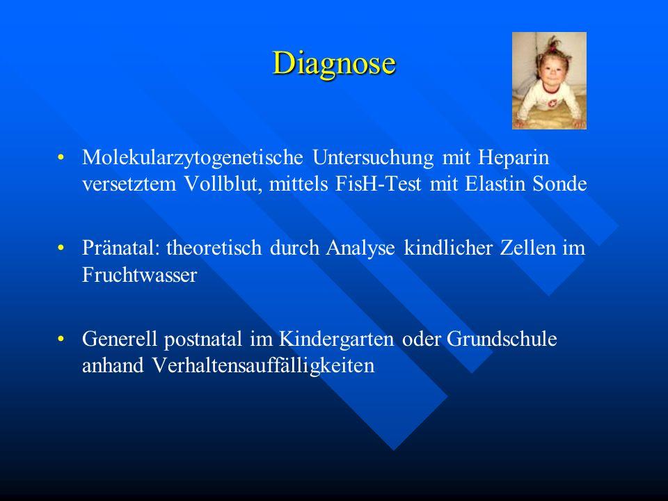 Diagnose Molekularzytogenetische Untersuchung mit Heparin versetztem Vollblut, mittels FisH-Test mit Elastin Sonde.